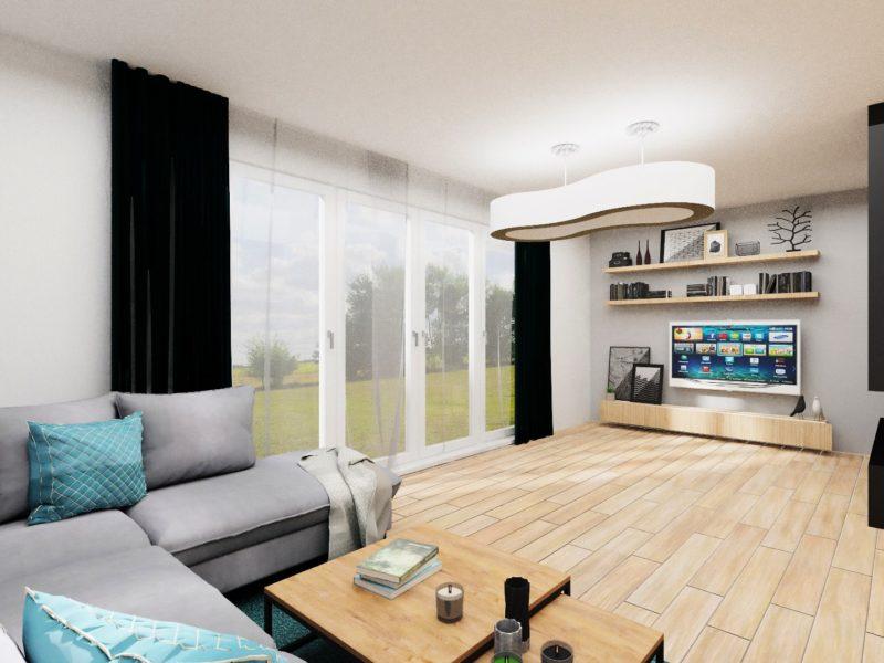 Salon - wizualizacja aranżacji wnętrza